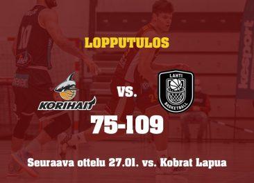 Otteluraportti: Korihait – Lahti Basketball 75-109